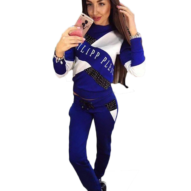 2 Two Piece Set Fall Female Casual Tracksuit Patchwork Letter Print Women Pullovers Tops Slim Pants Hoodie Suits trajes de mujer