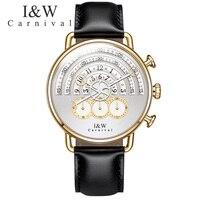 Карнавал Новинка 2017 года Дизайн поступления Для мужчин S Часы лучший бренд класса люкс кожаный ремешок кварцевые часы Для мужчин модные Пов