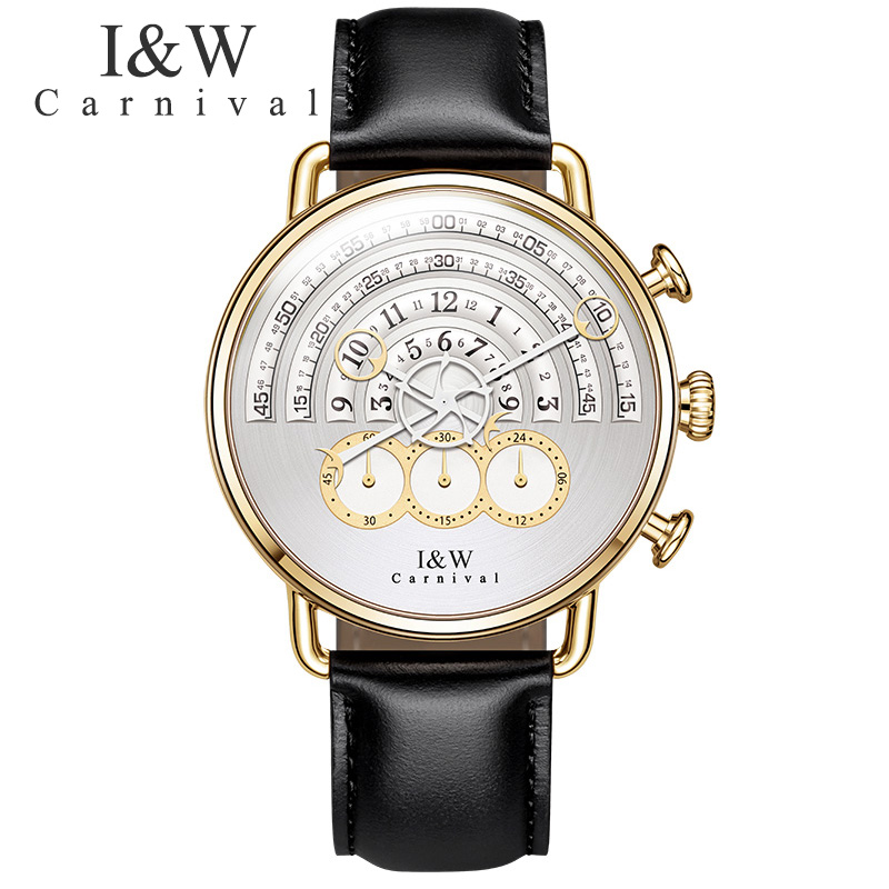 CARNIVAL 2017 New Design arrivals Mens Watches Top Brand Luxury Leather Band Quartz Watch Men Fashion Casual Relogio Masculino