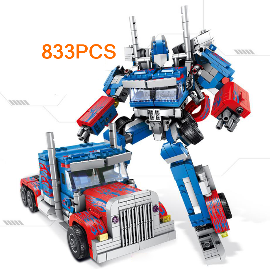 Hot movie Transformation super robot 6in1 building block Peterbilt 389 Traction truck head assemable bricks toys collectionHot movie Transformation super robot 6in1 building block Peterbilt 389 Traction truck head assemable bricks toys collection