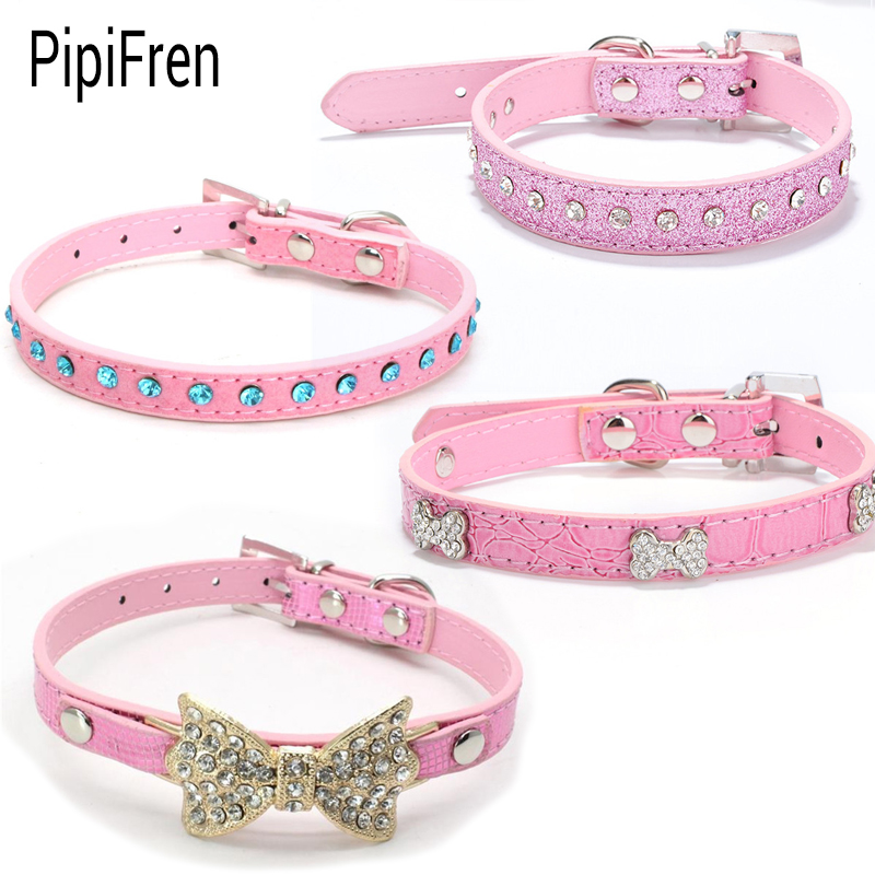 pipifren pink small cats collars breakaway necklace kitten rhinestone for leash pet dogs collar. Black Bedroom Furniture Sets. Home Design Ideas