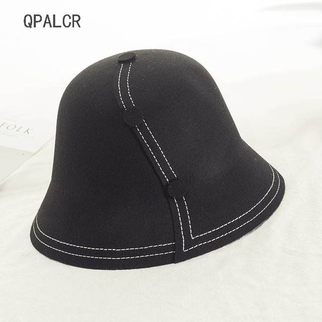 c28772fefe89ba QPALCR Korea Retro Foldable Wool Fedora Hat For Women Buttons Decoration Bucket  Hats Unisex Wool Topper Fashion Fisherman's Cap