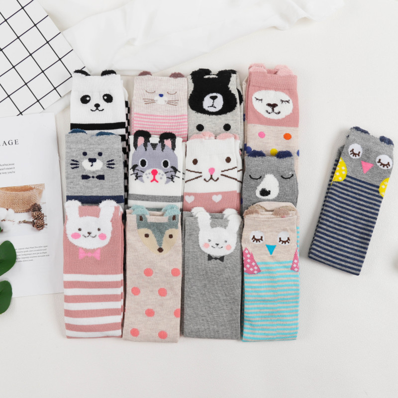 2019 Cartoon Cute Kids Socks Bear Animal Baby Cotton Socks Knee High Long LegWarmers Cute Socks Boy Girl Children Socks 3-12 Y