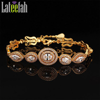 Lateefah Antique Classic Wedding Bracelet Women Gold Color AAA Cubic Zirconia Violin Shape Link Chain Trendy Pulseira Feminina