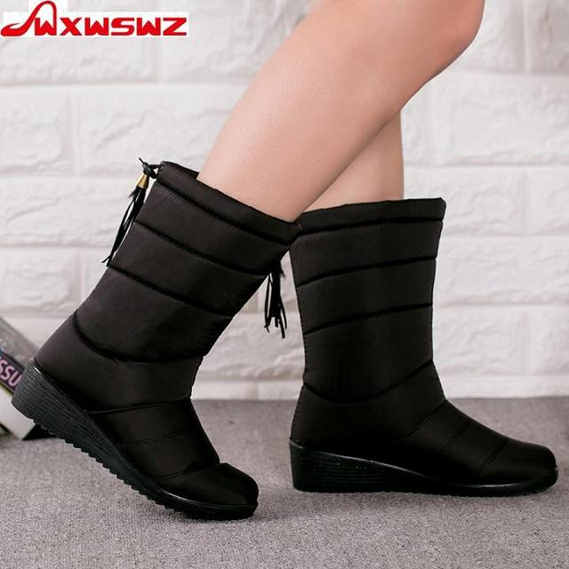 WXWSWZ  Winter  Women Boots Mid-Calf Down Boots Girls Winter Shoes Woman Plush Insole Botas Female Waterproof Ladies Snow Boots