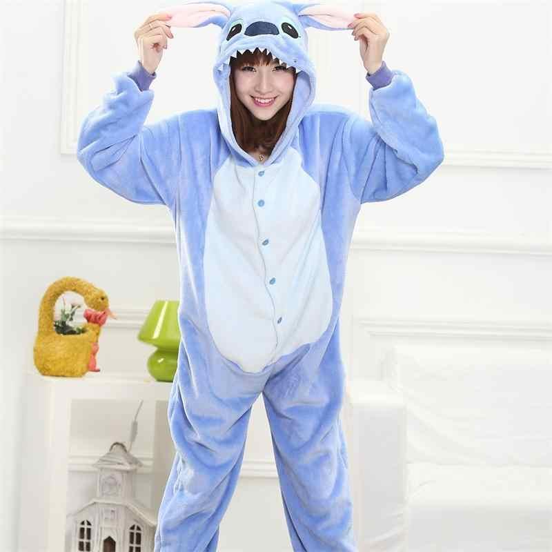 Hayvan dikiş Kigurumi Unicorn Onesie yetişkin gençler kadın pijama komik pazen sıcak yumuşak genel tek parça gece ev tulum