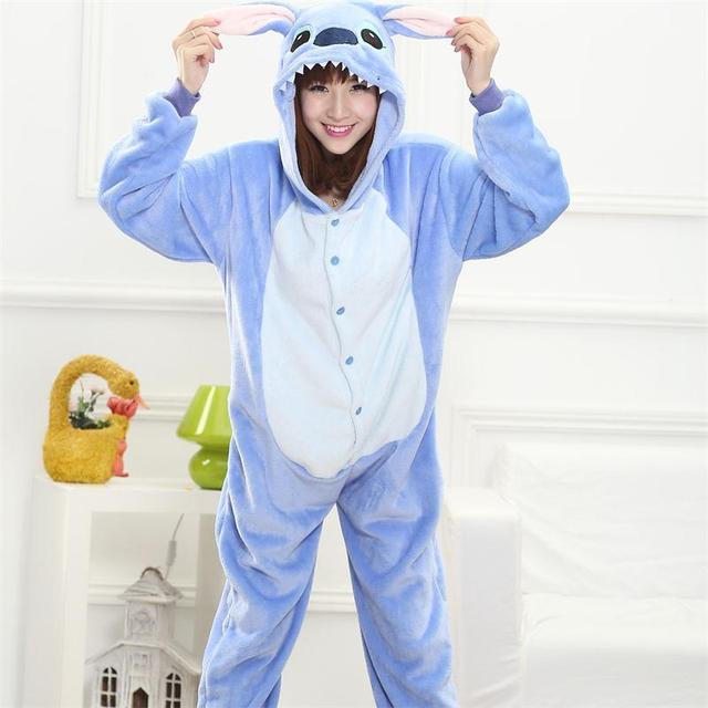 Животных стежка Onesie взрослых подростков для женщин Пижама кигуруми пижамы  забавные фланелевые теплые мягкие комбинезон 1425eaed16353