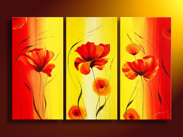 3 Piece Wall Art No Frameless Draw Modern Abstract Acrylic Flower Orange Poppy Red And Yellow Oil Painting On Canvas