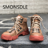 2018 New Fashion Autumn Winter Shoes Woman Real Leather Ankle Boots Lace Up Casual Flat Boots Design Runway Women Hiking Boots