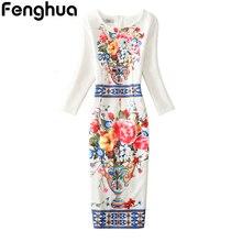 Fenghua зима-осень платье 2017, женская обувь Повседневное пикантные офисные партия Bodycon платье цветочный Винтажные наряды плюс Размеры 3XL 4XL Vestidos