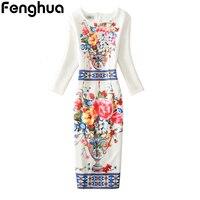 Fenghua Summer Dress Women 2017 Sexy Casual Floral Print Dress Vintage Three Quarter Sleeve Office Pencil
