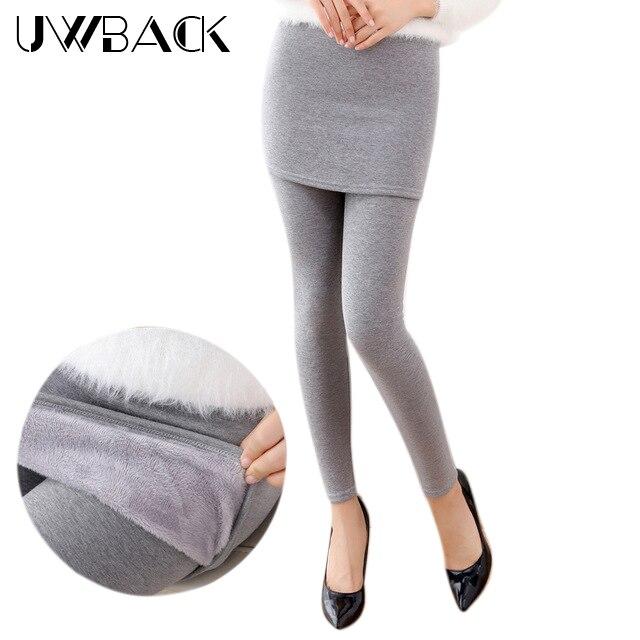 Uwback 2017 Winter Thick Velvet Leggings Women Plus Size 3XL Fake Two Piece Skinny Hip Skirt Leggings Trousers Slim Women CBB303