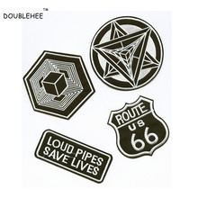 DOUBLEHEE Embroidered Iron On Patches Embroidery Brief Black and White Letters Geometry Image DIY Coat Shoes Accessories