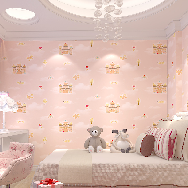 Warm castle cartoon english wind wallpapers wall paper children boy girls non-woven bedroom wallpaper living room environmental beibehang new children room wallpaper cartoon non woven striped wallpaper basketball football boy bedroom background wall paper