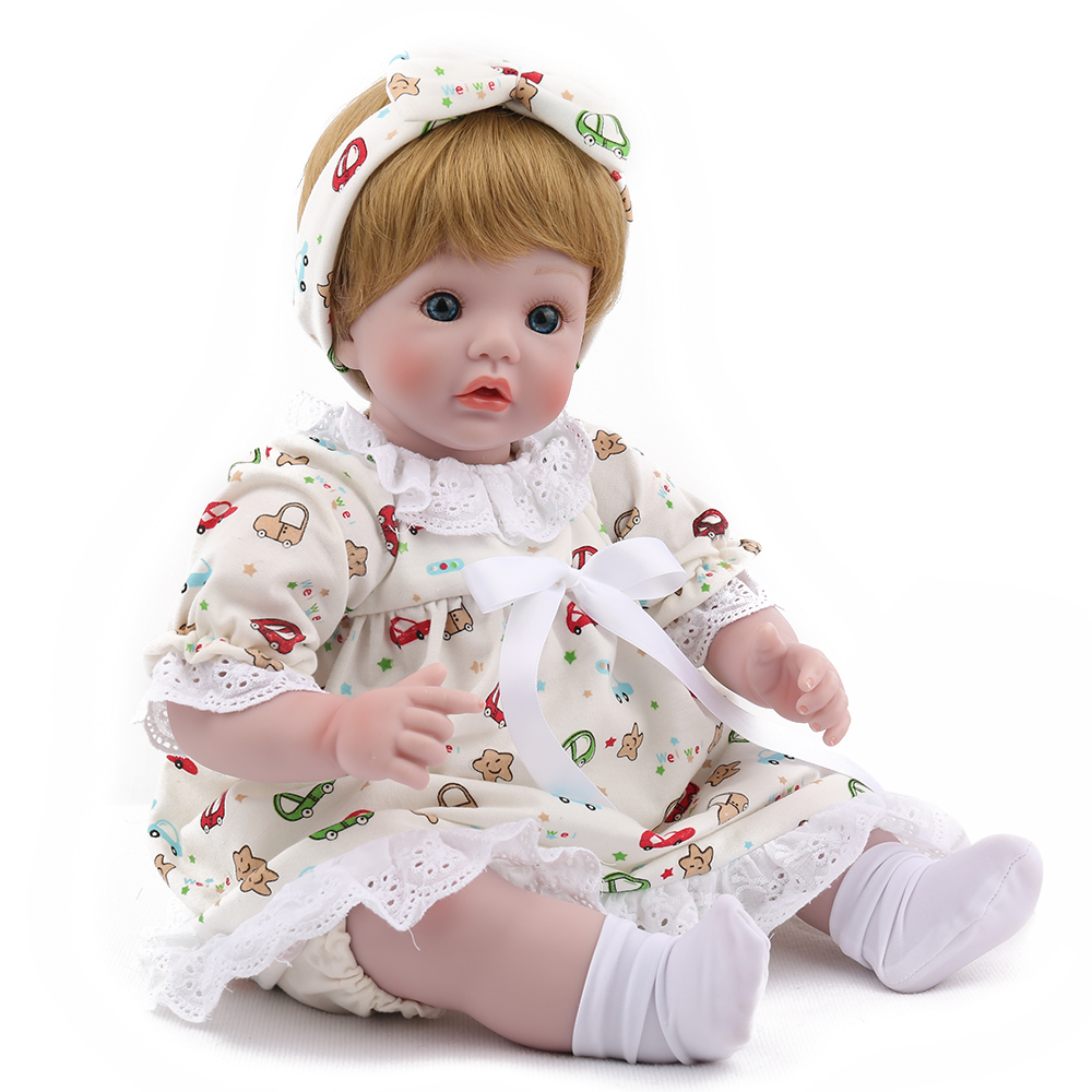 NPKDOLL Reborn Doll Lifelike Baby 18 inch Silicone Body Realistic Adorable Gift for Kids White Clothes Girls Playmate