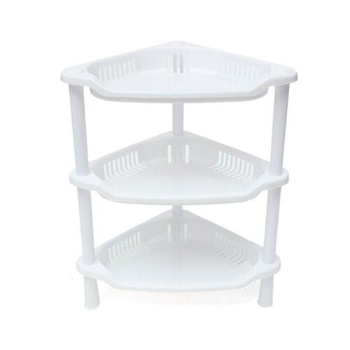 3 Tier Plastic Corner Shelf Organizer Cabinet Bathroom Kitchen Sundries Storage Rack White