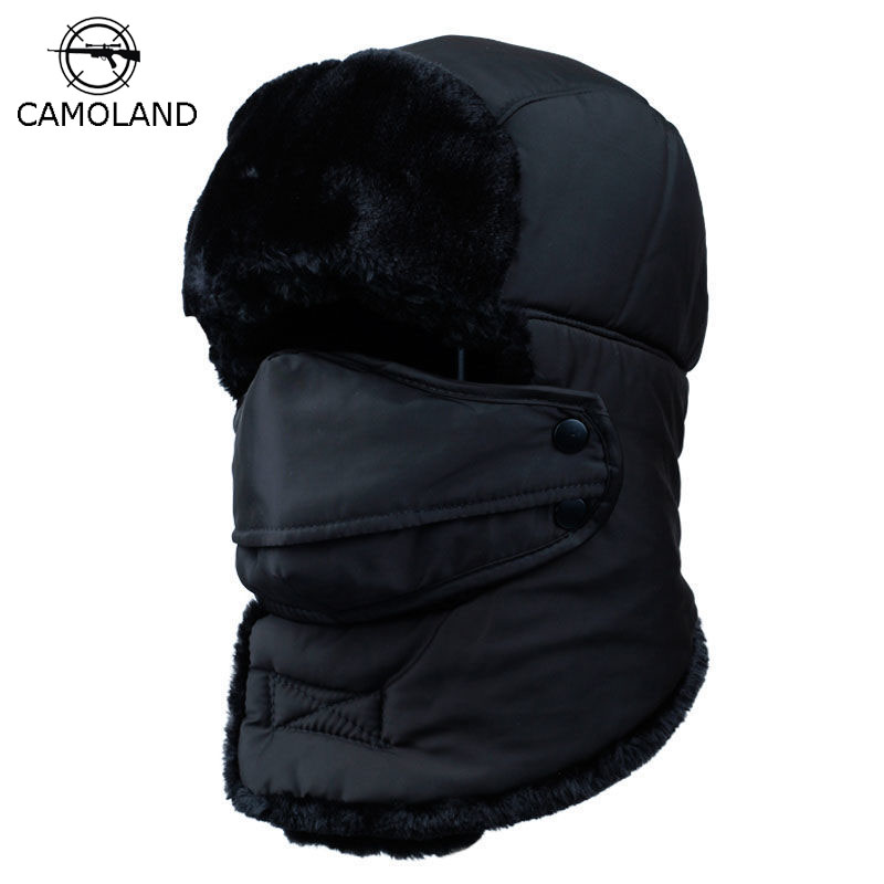 Winter Warm Earflap Bomber Hats Caps Scarf Men Women Russian Trapper Thermal Hat Trooper Earflap Snow Ski Hat Cap with Fack Mask(China)