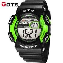 OTS Children's Watches for Boy Fashion Digital Sport Clock Alarm Stopwatch Week Display Shockproof Waterproof Kids Watch Girls