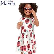 Euro USA enfants marque vêtements 2017 new summer bébé filles vêtements enfants Coton casual impression coccinelle fille plage robe