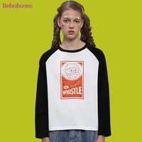 Casual Women T Shirts Long Sleeve Black White Tops O Neck Cartoon Printed Female Cotton Tee