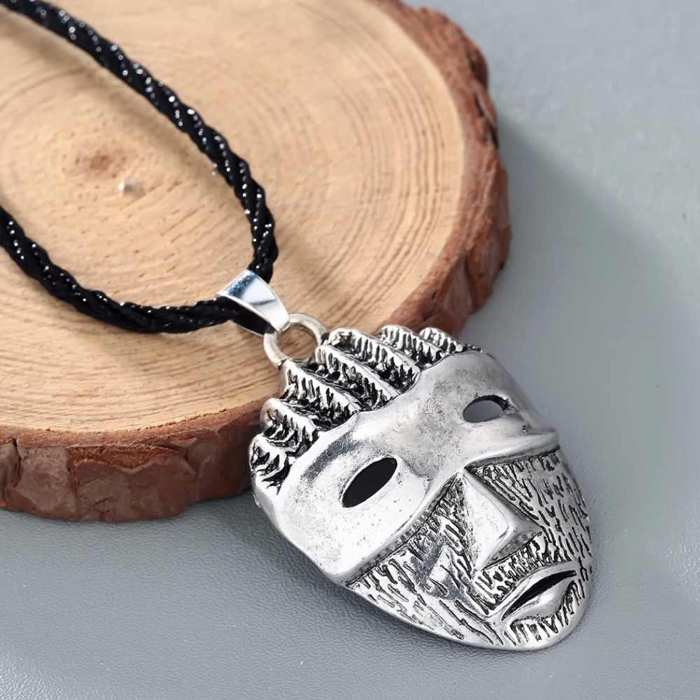 CHENGXUN Viking mężczyźni naszyjnik Vintage tajemnicza maska wisiorek fajna lina długi naszyjnik z łańcuszkiem gotycka afrykańska biżuteria najlepsi przyjaciele