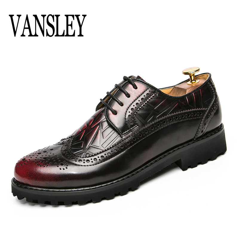 VANSLEY Brand Summer Autumn Causal Shoes Men Oxford Carved Pattern Loafers Moccasins Men Driving Dress Shoes High Quality Flats