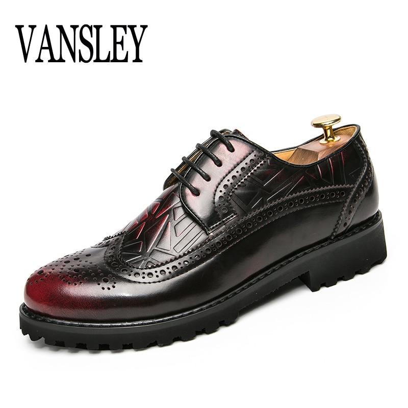 VANSLEY Marque D'été Automne Causal Chaussures Hommes Oxford Sculpté Motif Mocassins Mocassins Hommes Conduite Robe Chaussures de Haute Qualité Appartements