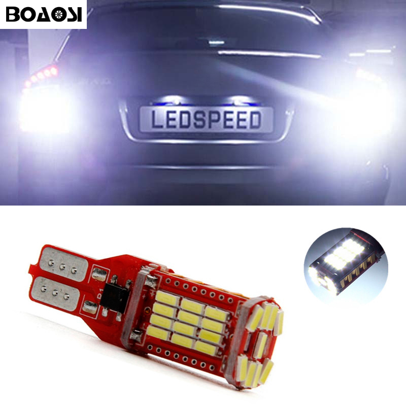 BOAOSI 1x New Upgrade Backup Reverse Light Lamp T15 W16W LED 4014 Chip High Power LED Bulb For Skoda Superb katur 2pcs t15 w16w led reverse light bulbs 920 921 912 canbus 4014 45smd highlight led backup parking light lamp bulbs dc12v