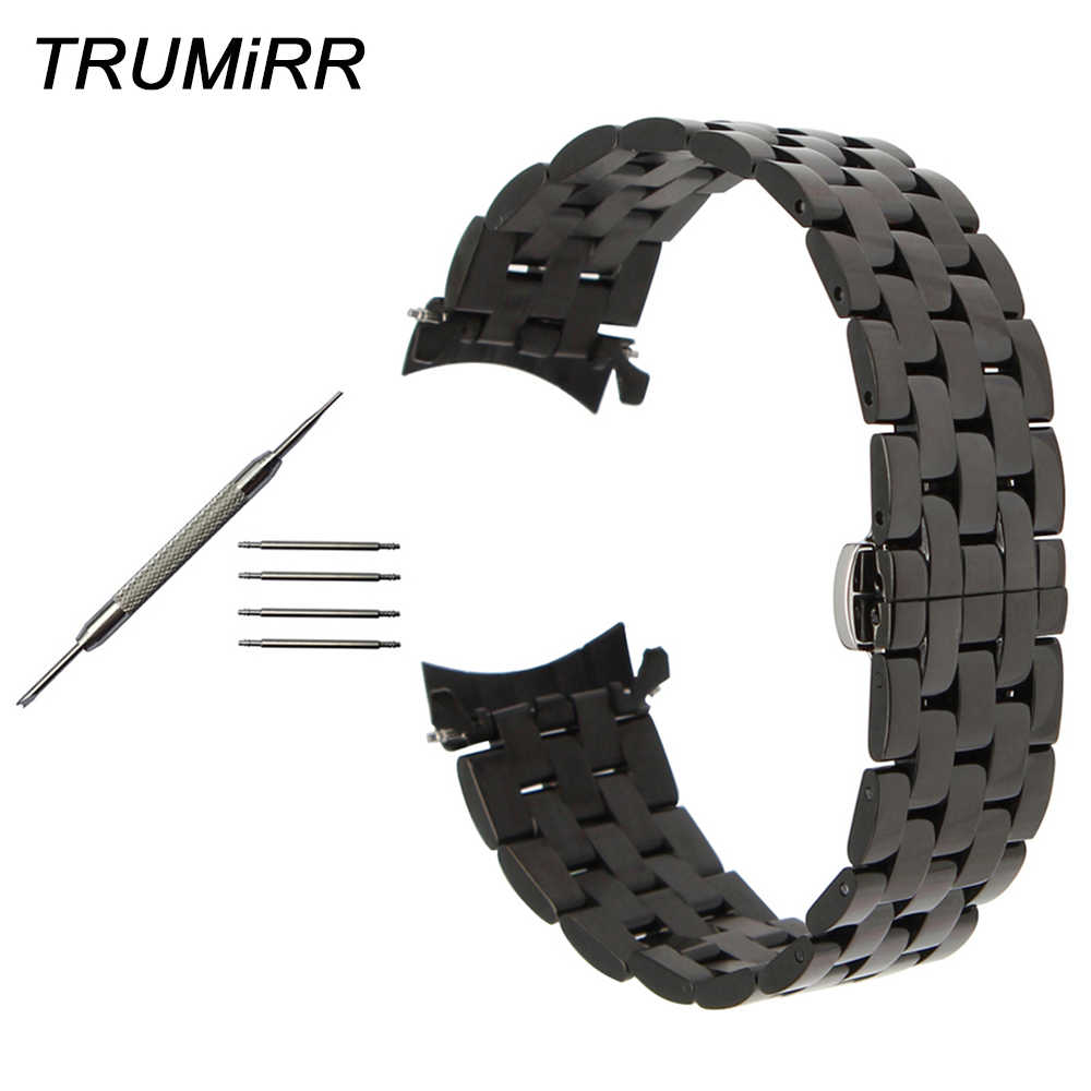 09286117e3f 22mm 24mm Stainless Steel Watchband Curved End Strap for Ferrari Watch Band  Butterfly Buckle Wrist Bracelet