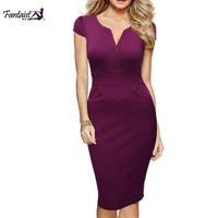 Fantaist Summer Women Casual Sexy Elegant Formal Wedding Party Work Sheath Fitted Slim Solid Knee Length