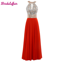 Real Photo Luxury Crystal Red Chiffon O Neck Evening Dresses 2017 Robe de festa Custom made Sleeveless Backless Long Party Gown