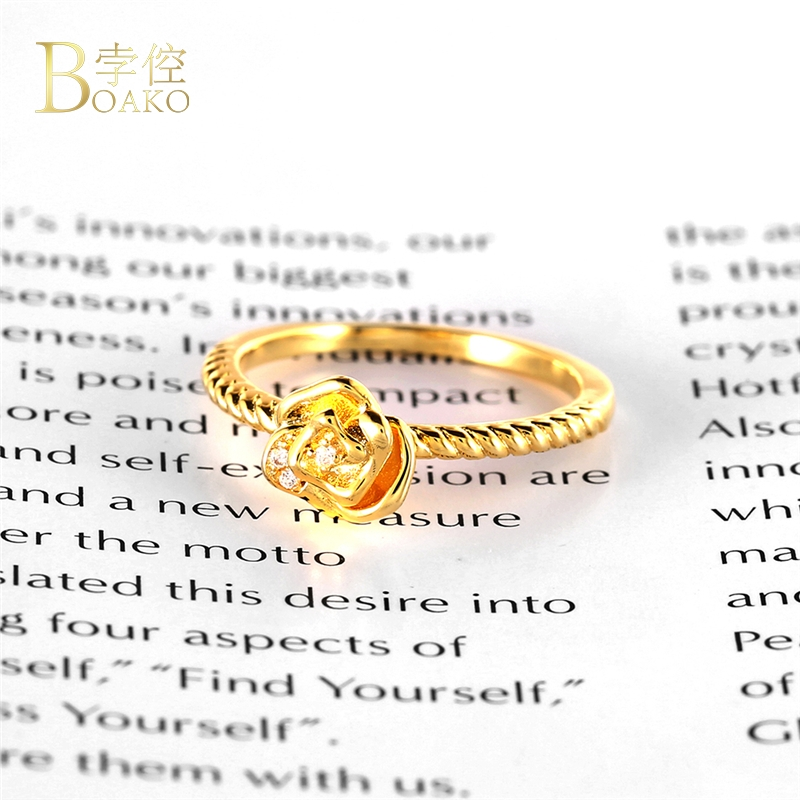 BOAKO 2019 New Arrival Rose Flower Rings for Women Simple Design Ring with Environmental Copper bague femme Anti Allergy B3 in Engagement Rings from Jewelry Accessories