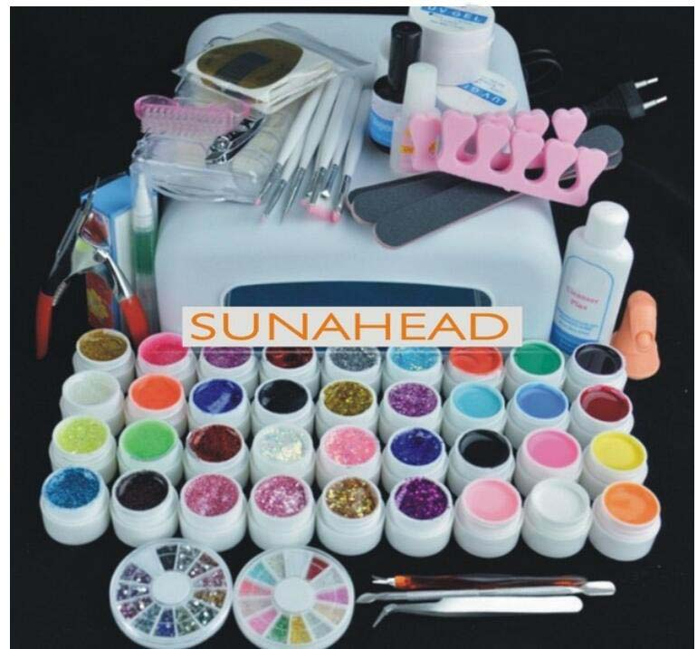 2017 Hot sale Pro 36W UV builder GEL Lamp & 36 Color for nail Art extensions Tool starter kit  Sets best price mgehr1212 2 slot cutter external grooving tool holder turning tool no insert hot sale brand new