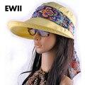 Sombrero Del Sol de Moda Cara Protección Sol HatsSummer cap Para Las Mujeres Plegable AntiUV Amplia Grandes Brim Ajustable Mujeres Sombrero de Verano