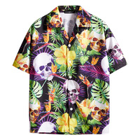 green leaf yellow floral white skulls print Hawaii holidays shirts his and hers oversize 3XL baggy Harajuku skateboard shirts