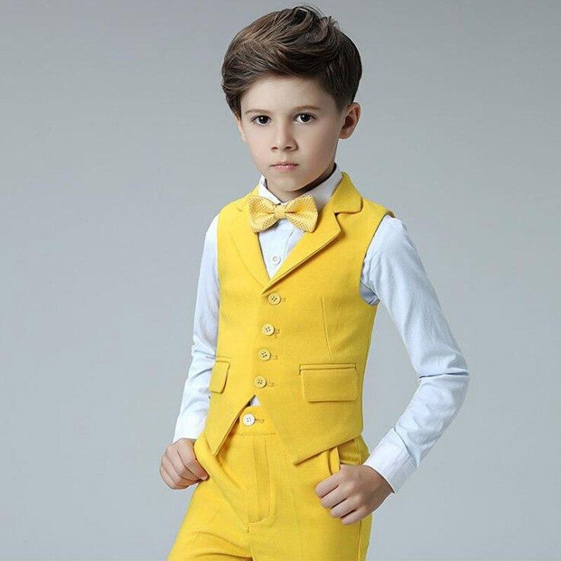 Boys vest suits set vest pant shirt tie kids wedding Party Suits vest costumes little host performance clothing (4)