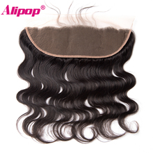 ALIPOP Pre Plucked Peruvian Body Wave Lace Frontal Closure With Baby Hair Non Remy 100% Human Hair Bundles Natural Hairline