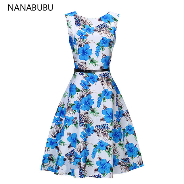 Nanabubu 2018 Dress Plus Size Summer Autumn Vintage 50s Dresses