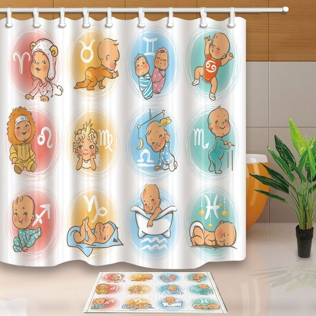 Zodiac Decor Cute Baby As The Sign Of 12 Constellation Waterproof Polyester Fabric Shower Curtain