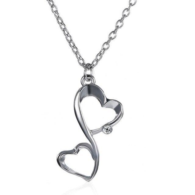 ffbad683b0ea Infinito del amor plata dos corazones collar