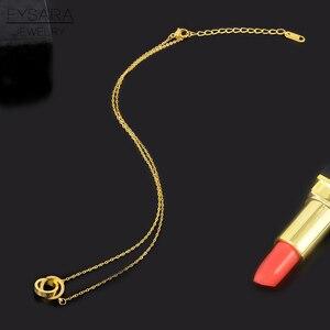 Image 4 - FYSARA 클래식 브랜드 사랑 두 원 더블 버클 목걸이 로마 숫자 꽃 클로버 목걸이 스테인레스 스틸 골드 쇄골