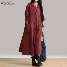 2017 Spring ZANZEA Women Casual Loose Mid-calf Dress Ladies Vintage V Neck Hooded Long Sleeve Solid Dresses Vestidos Oversized