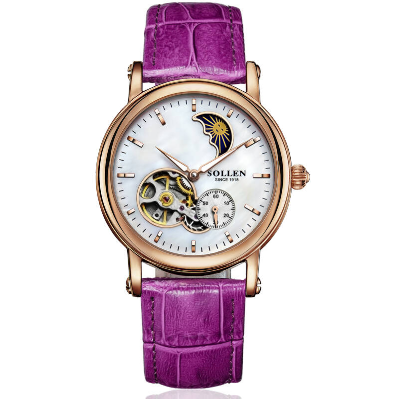 SOLLEN SL401 watches women luxury automatic mechanical hollow skeleton moon phase closer heart Italian calfskin rose gold purple