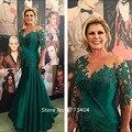 2017 Do Vintage Verde Escuro Frisada Mãe do Vestido Da Noiva Apliques de renda Roupa Do Convidado Do Casamento Vestidos de Festa Plus Size Personalizado feito