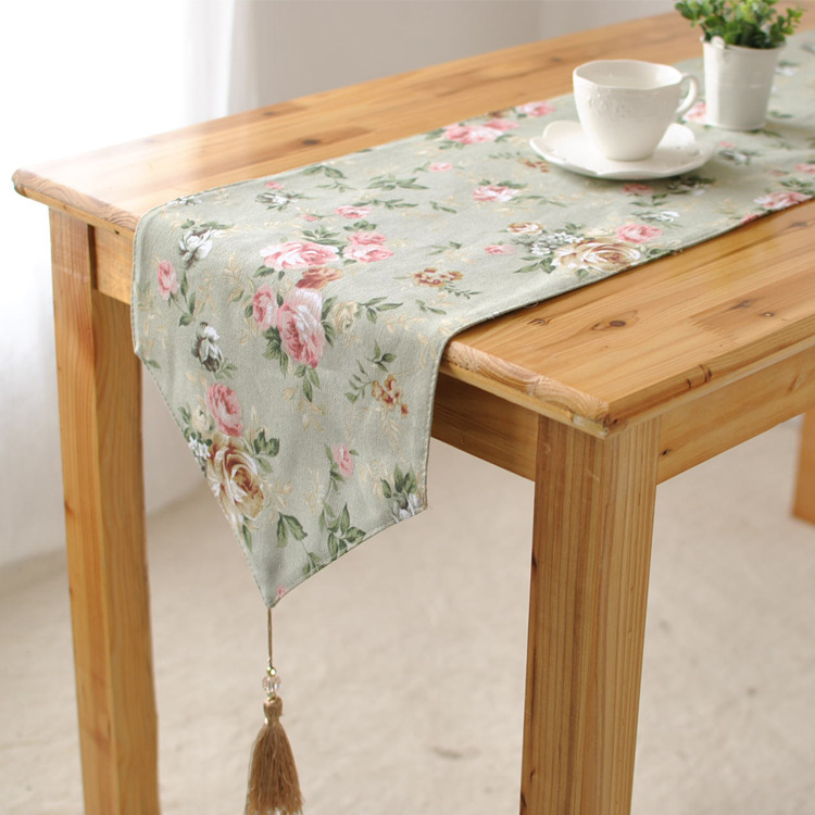Order 1 Piece Canvas Shabby Chic Green Rose Rustic Home Decor Table Runner 4 Size For Choose China