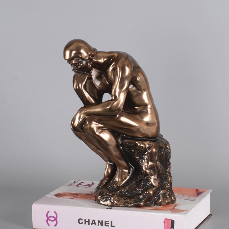 лучшая цена American The Thinker Statue Bust Copper+Resin Art Craft Character Plaster Art Sketch Teaching Thinkers Home Decoration L1760