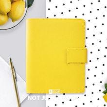 Yiwi מקורי לימון צהוב A5 A6 יומן עור מפוצל מתכנן 6 עלה רופף ספירלת קלסר מחברת