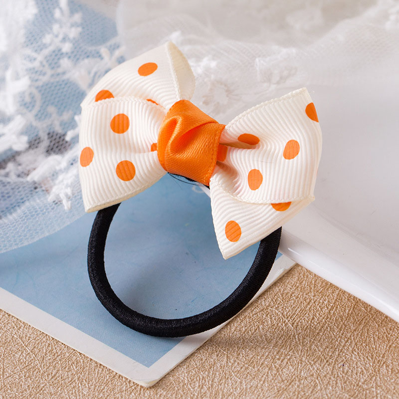 Купить с кэшбэком Sale 1PC Korean Dots Bow Elastic Hair Rope For Girls Handmade Child Headband Red Blue Rope
