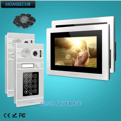 HOMSECUR 7 Video Door Phone Intercom System+Recording & Snapshot+Call Transfer for Apartment   BC071-S + BM714-S