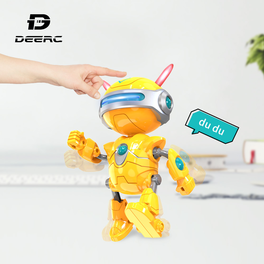 DEERC RC Robots Toys Mini Talking Smart Robot For Kids Educational Toy for Children Humanoid Robot Toy Sense Inductive RC stuffed toy